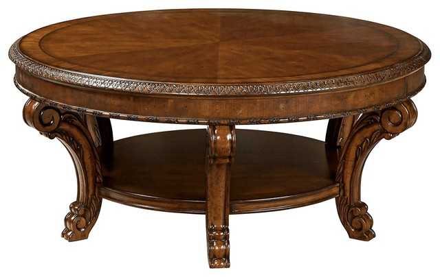 chandler medium cherry round cocktail table - victorian - coffee