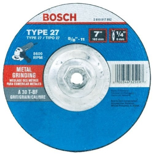 Bosch Gw27m701 Type 27 Metal Grinding Wheel, 7 1/4 By 5/8-11 Arbor.