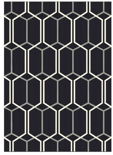 Patio Rectangular Rug, Black, 160x230 cm