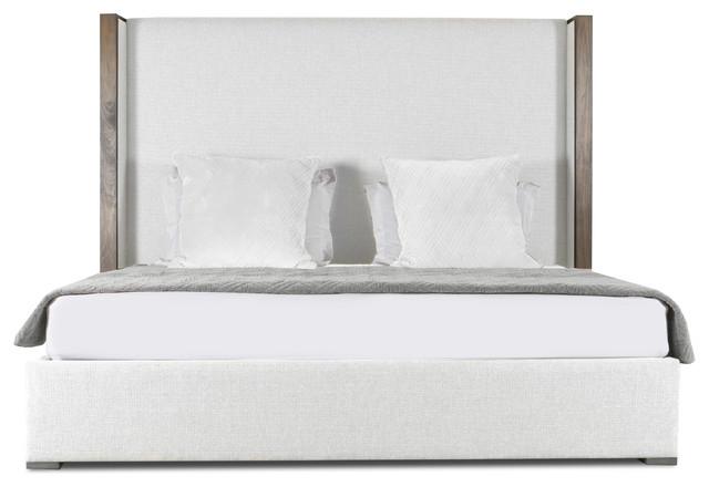 Medgar Upholstered Bed, White, King.