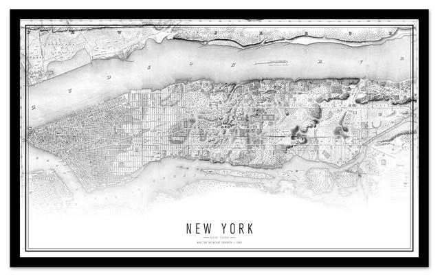 B&W New York Map, Wood Frame
