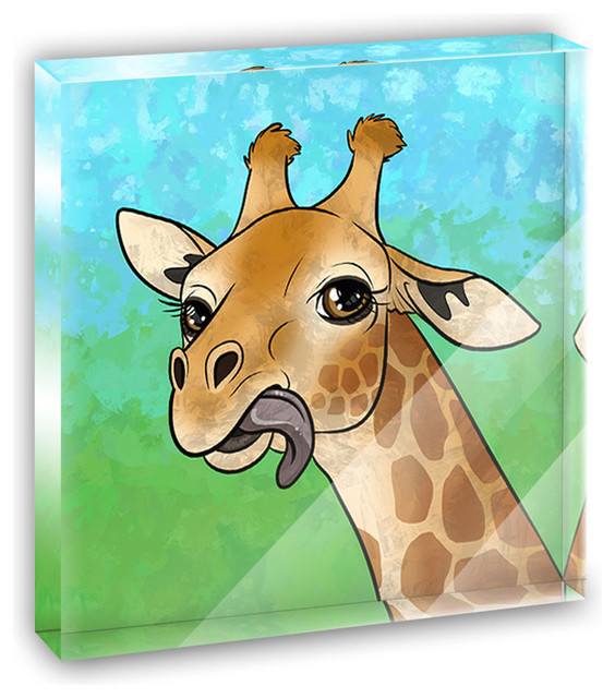 Giraffe Sticking Tongue Out Mini Desk Plaque and Paperweight contemporary-decorative-accents