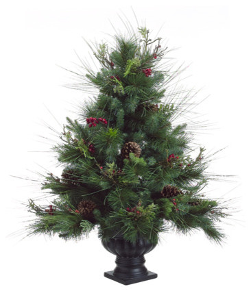 potted pine artificial christmas tree with pine cones and berries unlit 3 - Potted Christmas Tree