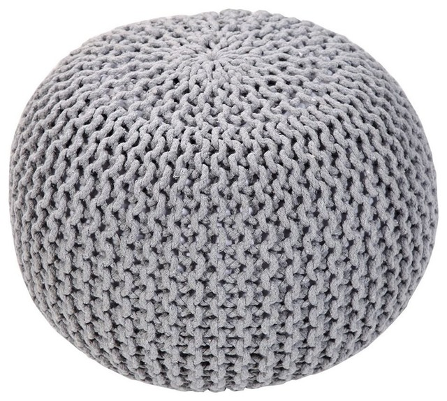 """Handmade Round Knitted Pouf, Glacier Gray, 20""""x14""""."""