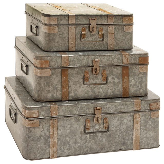 Decorative Trunk Boxes Entrancing Benzara  Metal Galvanized Trunks 3Piece Set  View In Your Room 2018