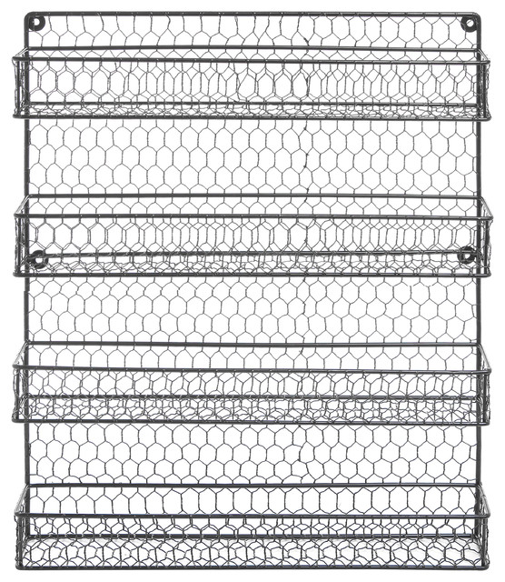 4 Tier Wire Frame Wall Mounted Spice Rack, Black.