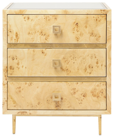 Worlds Away Hyde 3 Drawer Nightstand, Burl And Gold.