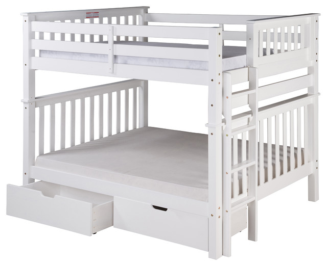 Santa Fe Mission Bunk Bed Full Over End Ladder With Drawers White