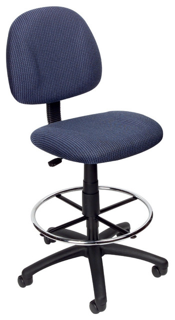 Boss Drafting Stool With Footring Blue Without Adjustable Arms Contemporary