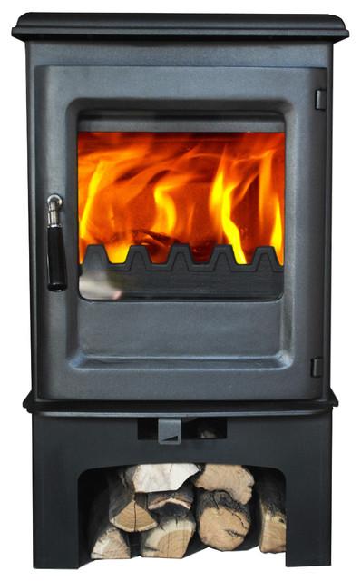 Hiflame Olymberyl Hf905ub Wood Burning Stove With Log Stand.