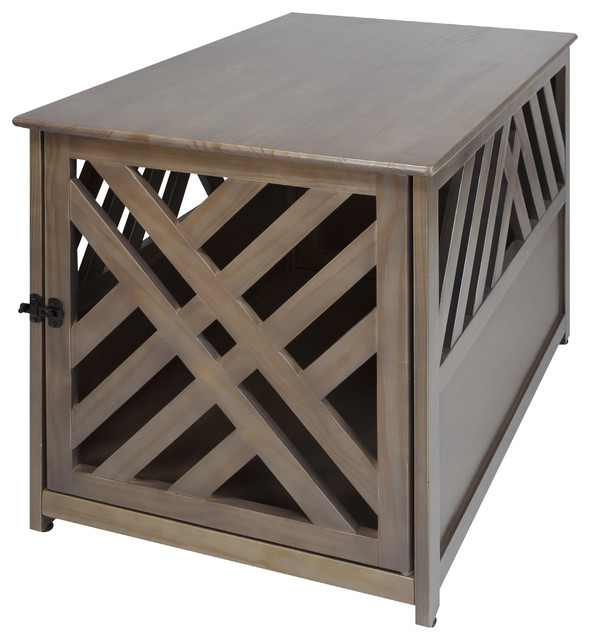 Genial Modern Lattice Wooden Pet Crate End Table