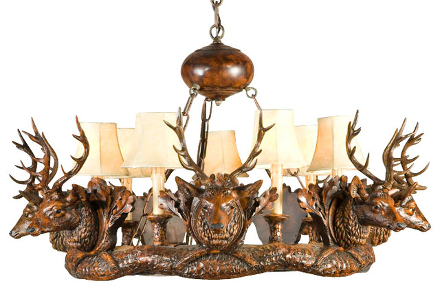 7 Small Stag Head Chandelier