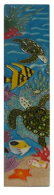 Chinese Porcelain Turtle Fishes Wall Hanging Art