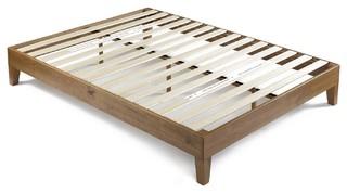 King Modern Platform Bed Frame, Rustic Pine Finish