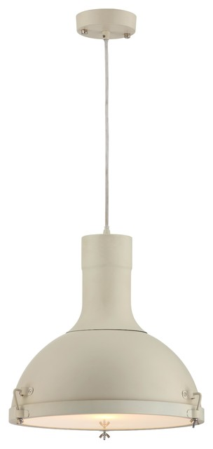 Purpose Dome Industrial Pendant Light, Cream.