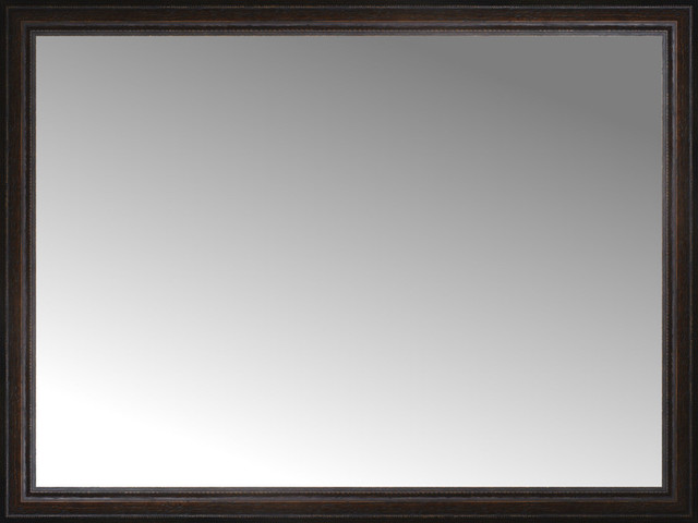 48 X36 Custom Framed Mirror Distressed Brown