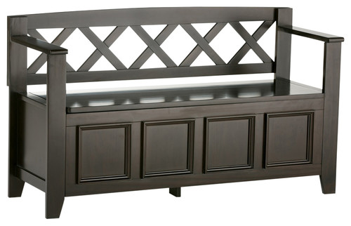 Amherst SolidWood 48 Transitional Entryway Storage Bench, Dark Brown