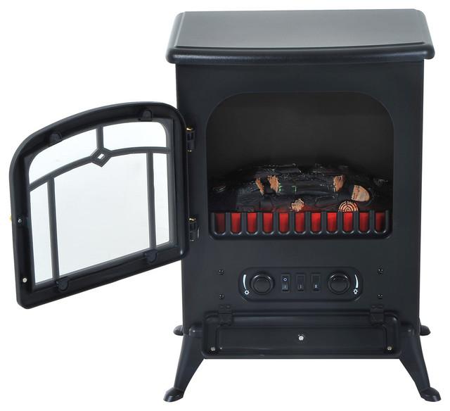 Homcom 16 1500w Free Standing Electric Fireplace Black