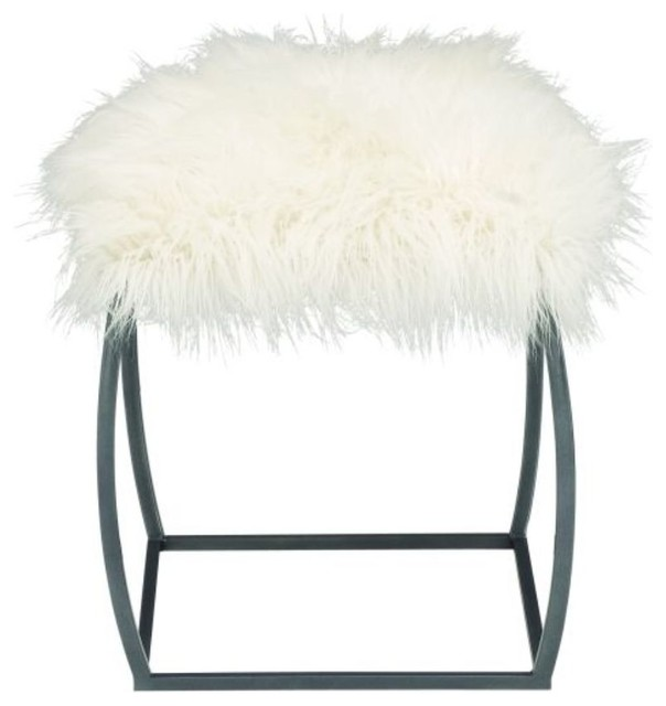 Metal Gray Fur Stool, 17\
