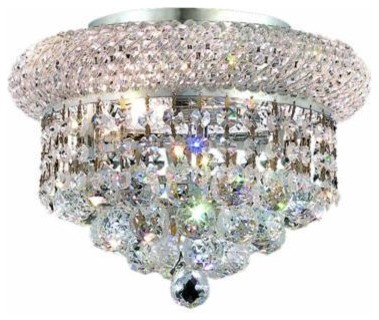 Adele Flush Mount Fixture With Heirloom Hand-Cut Crystals, Clear.