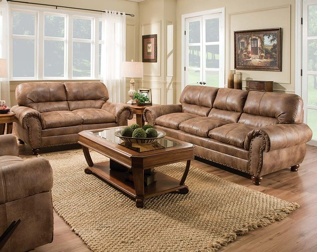 Captivating Rochester Hazelnut Sofa And Loveseat Contemporary Living Room