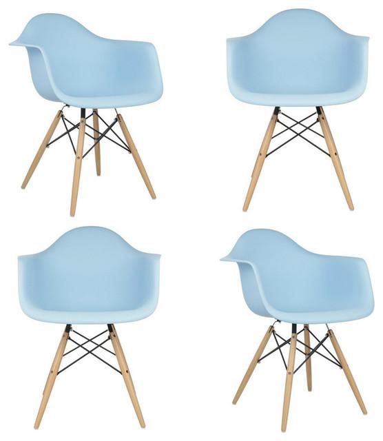 Set Of 4 Daw Light Blue Mid Century Modern Dining Armchair Wood Eiffel Legs