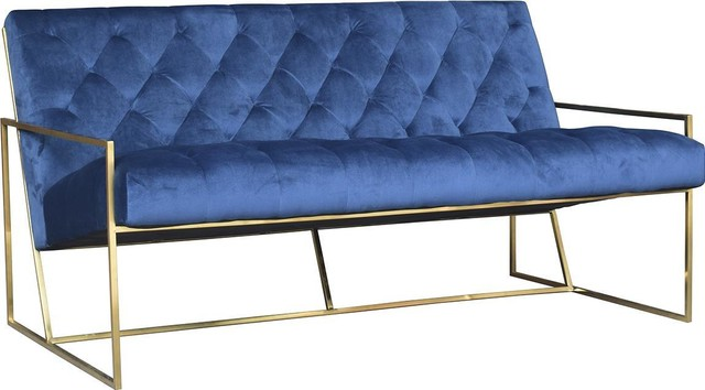 Bench Dovetail Hensley 2-Seater Brass Blue.