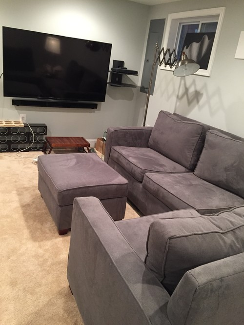 I have an antique mahogany dresser in the basement bedroom and a charcoal herringbone fabric sectional (West Elm Henry sectional) in the basement den. : henry sectional - Sectionals, Sofas & Couches