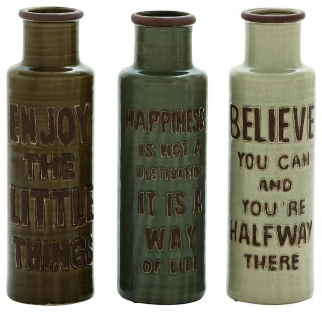 "16"" ""Enjoy Happiness Believe"" Ceramic Cutlery Jars Set of 3"