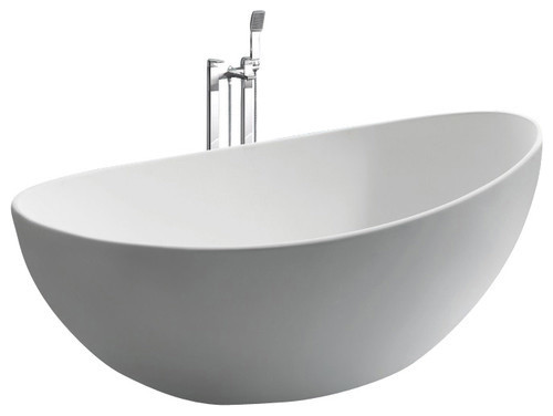 White stand alone stone resin bathtub modern bathtubs for Freestanding stone resin bathtubs