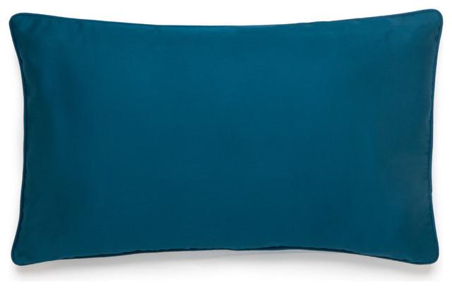 "Amy Sia Midnight Storm 12""w X 20""l Teal Solid Sateen Decorative Pillow."