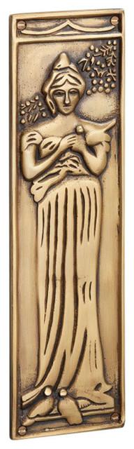 Finger Plate Princess, Antique Satin Brass