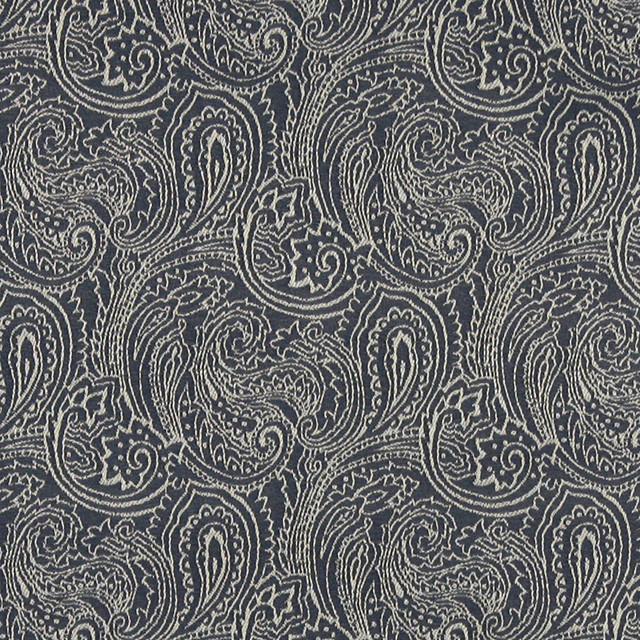 Navy Blue Traditional Abstract Paisley Woven Upholstery Fabric By The Yard