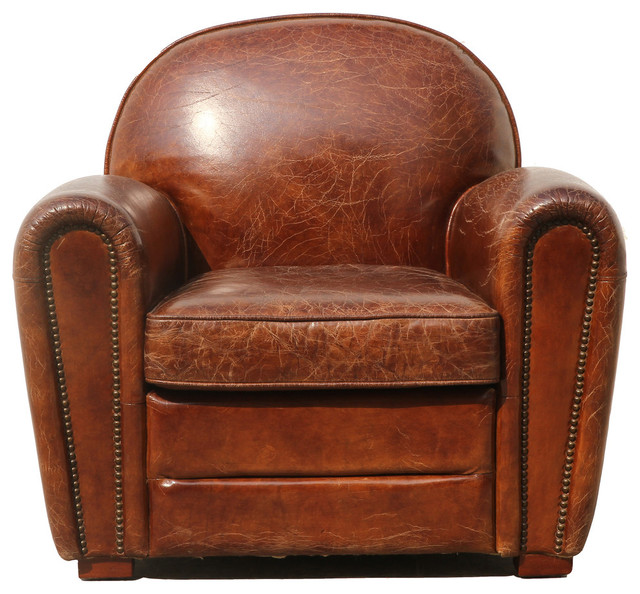 Pasargad Genuine Leather Paris Club Chair Transitional Armchairs And Accent Chairs