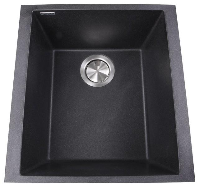 "Nantucket Sinks 17"" Single Bowl Undermount Granite Composite Bar-Prep Sink."