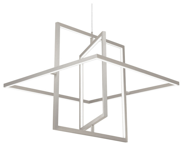 Mondrian Down Pendant, Brushed Nickel.