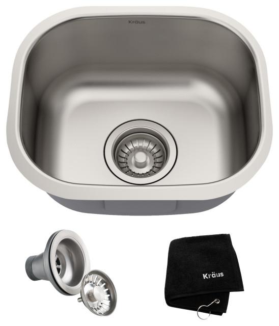 "15"" Undermount Stainless Steel Kitchen Sink, Single Bowl"