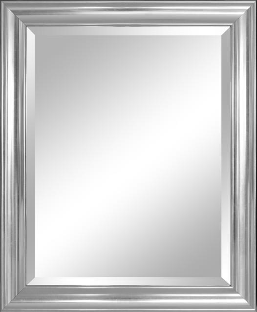 Concert Silver, Wide Framed Beveled Mirror.
