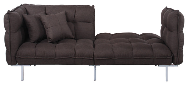 Modern Plush Tufted Linen Splitback Living Room Sleeper Futon, Brown.