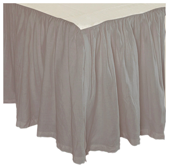100% Heritage Cotton Ruffled Bed Skirt, Natural, Twin contemporary-bedskirts