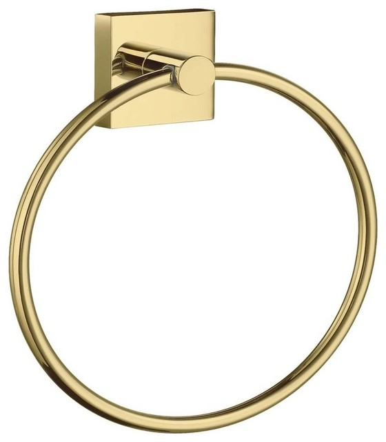 "6.75"" Towel Ring in Polished Brass Finish - Cabinet And Drawer Handle Pulls - by ShopLadder"