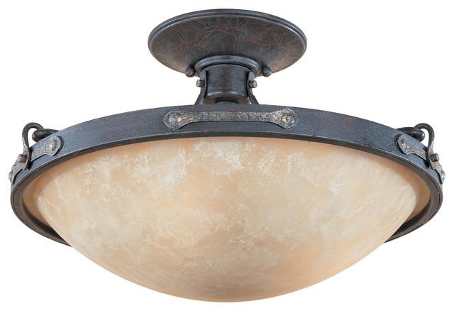 Weathered Saddle Austin Three Light Semi Flush Ceiling Fixture.