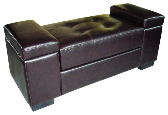 Dark Brown Open Storage Bench