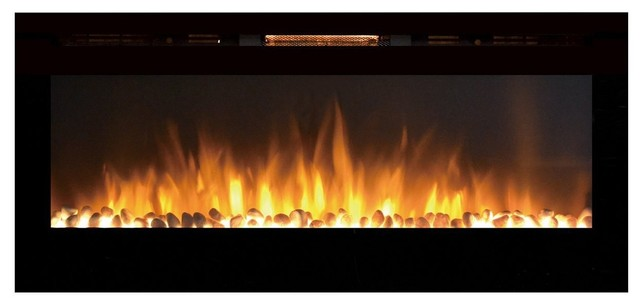 """Fusion 50"""" Pebble Built-in Ventless Recessed Wall Mounted Electric Fireplace"""