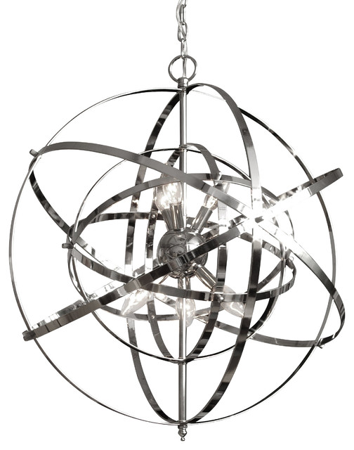 Foucault S Orb Chandelier Chrome Contemporary Chandeliers