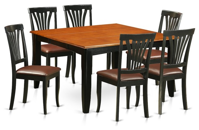 7 Piece Dining Room Set Table And 6 Wooden Chairs Transitional Sets By Bisonoffice