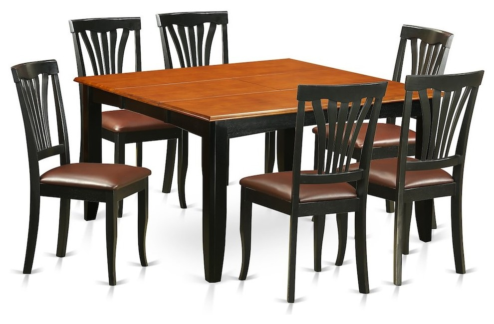 7-Piece Dining Room Set, Table, 6 Wood Chairs, Black/Cherry With Leather  Cushion