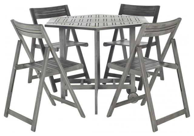 Safavieh Kerman Table and 4 Chairs, 5-Piece Set, Gray Wash