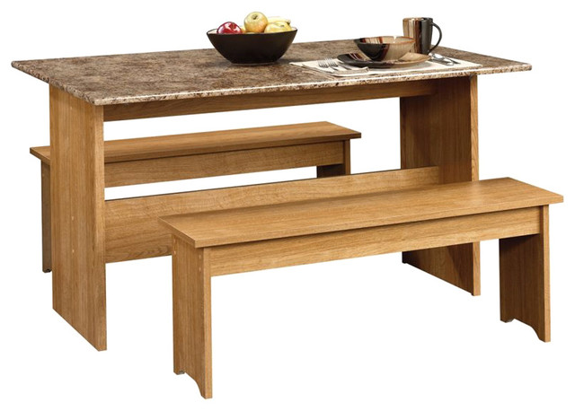 Sauder Beginnings Trestle Table With Benches In Highland Oak