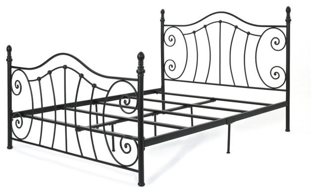 Carlynn Classical Finished Iron Queen Bed Frame, Matte Black.
